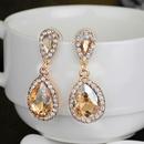 Korean jewelry new super flash rhinestone water drop long bridal earrings NHDR199864