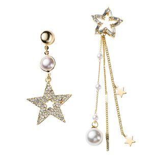 Nuevos pendientes asimétricos salvajes de moda llenos de diamantes pendientes de pentagrama huecos pendientes de borla NHYT199872's discount tags