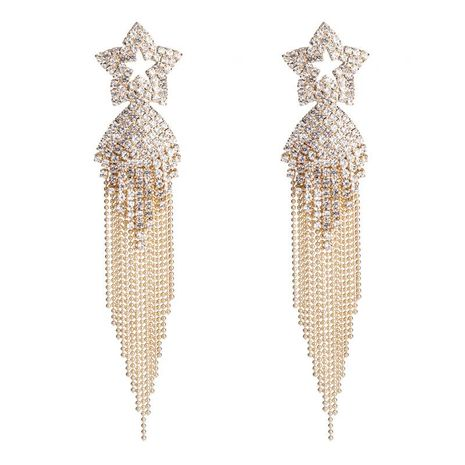 Popular gold copper grab chain earrings fringed exaggerated earrings fashion gold-plated jewelry NHYT199874's discount tags