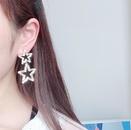 Simple threedimensional hollow crystal pentagram earrings female 925 silver pin earrings NHYT199877