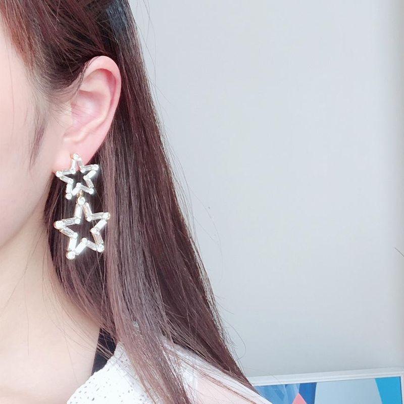 Simple three-dimensional hollow crystal pentagram earrings female 925 silver pin earrings NHYT199877