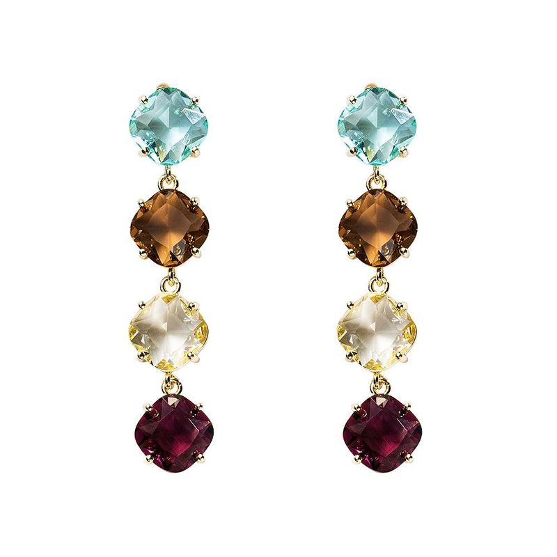 Simple Fashion Long 925 Hypoallergenic Square Colored Gem Earrings Zircon Earrings NHYT199878