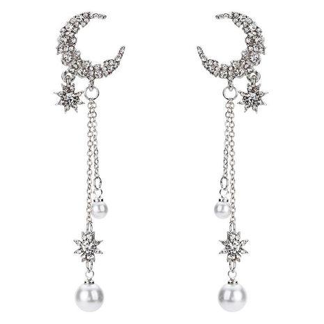 Fashion Retro Star Moon Earring Pearl Tassel Long Earrings NHYT199880's discount tags