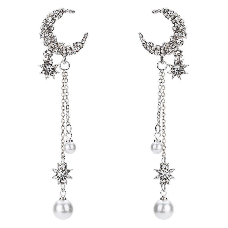 Fashion Retro Star Moon Earring Pearl Tassel Long Earrings NHYT199880
