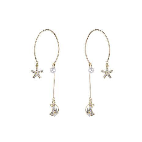 Wild Semicircle Star Moon Earrings Diamond Pearl Earrings 925 Silver Needle Hypoallergenic Earrings NHYT199883's discount tags