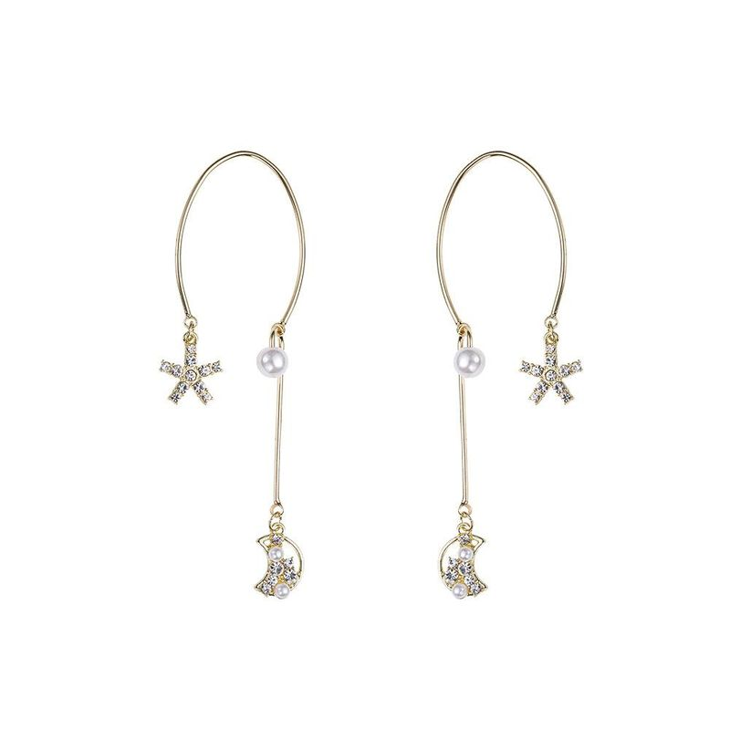 Wild Semicircle Star Moon Earrings Diamond Pearl Earrings 925 Silver Needle Hypoallergenic Earrings NHYT199883