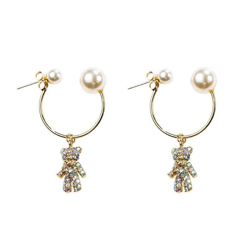 Cartoon earrings exquisite colorful diamonds bear earrings 925 hypoallergenic earrings NHYT199892
