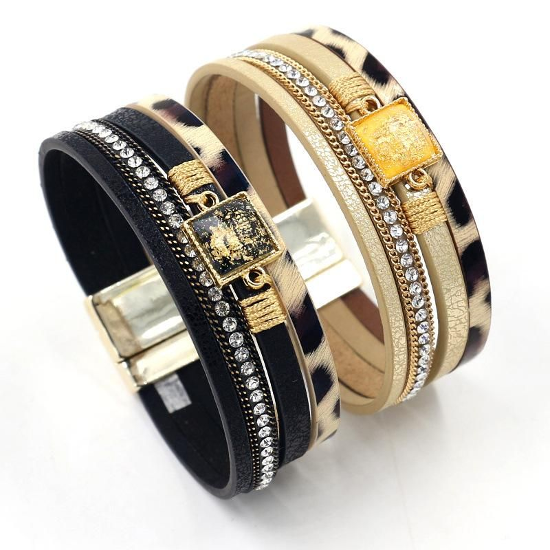 New fashion bracelet with diamond woven bracelet bohemian magnetic buckle PU leather multilayer bracelet for women NHHM199896