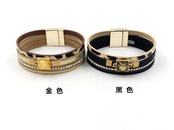 New fashion bracelet with diamond woven bracelet bohemian magnetic buckle PU leather multilayer bracelet for women NHHM199896