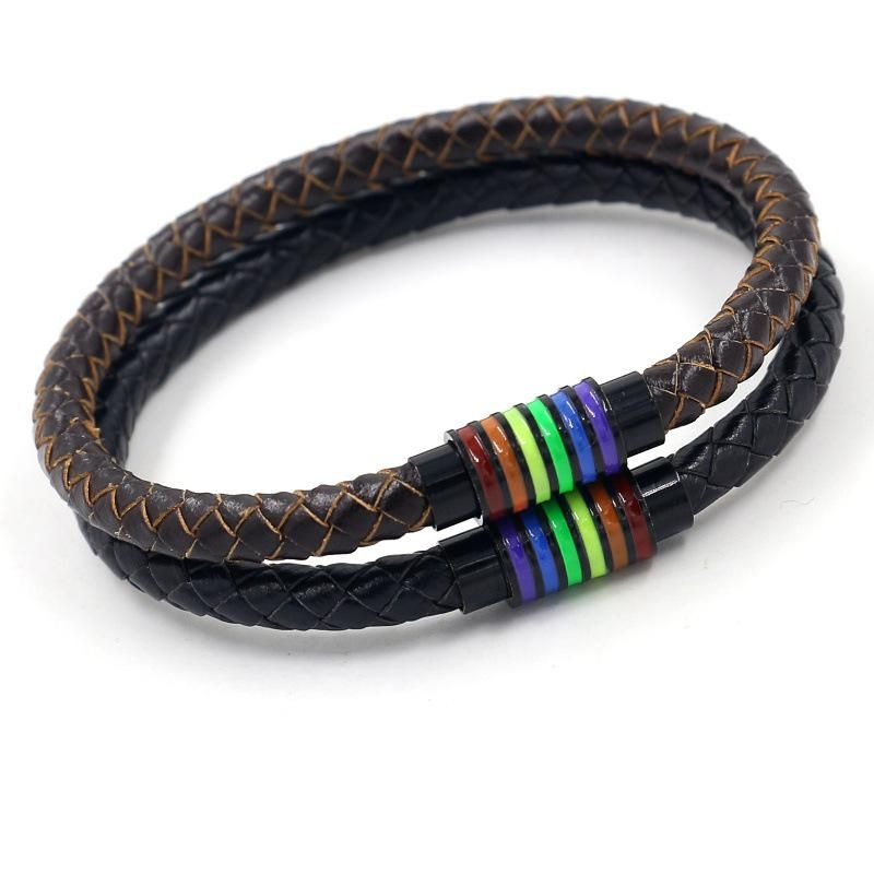 Fashion woven cowhide rainbow buckle bracelet men and women titanium steel magnetic buckle jewelry NHHM199897