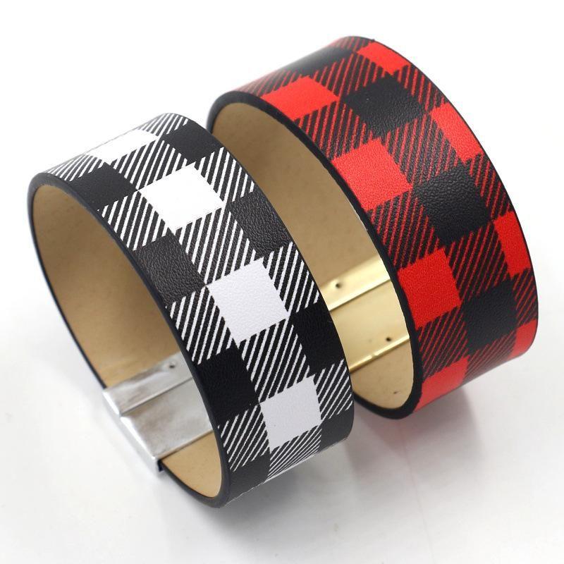 Fashion jewelry classic lattice PU leather wide bracelet female simple female bracelet NHHM199899