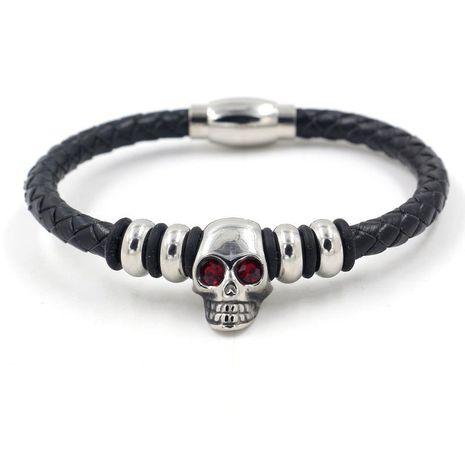 Nouveau bracelet en cuir de style punk titane acier diamant crâne corde tressée bracelet en cuir bijoux NHHM199901's discount tags