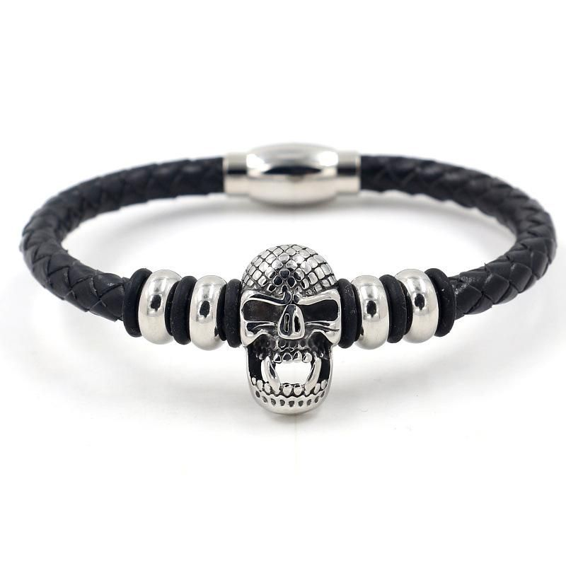 Summer men's punk style leather bracelet titanium steel skull leather rope bracelet NHHM199902