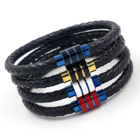 Mode Hommes En Acier Inoxydable Tissé Bracelet En Cuir Titanium Acier Magnétique Boucle Bracelet En Gros NHHM199905's discount tags