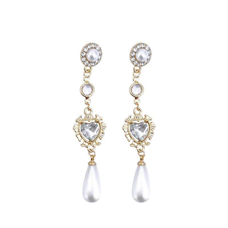 Fashion Baroque court retro love pearl gemstone water drop long earrings women NHYT199907