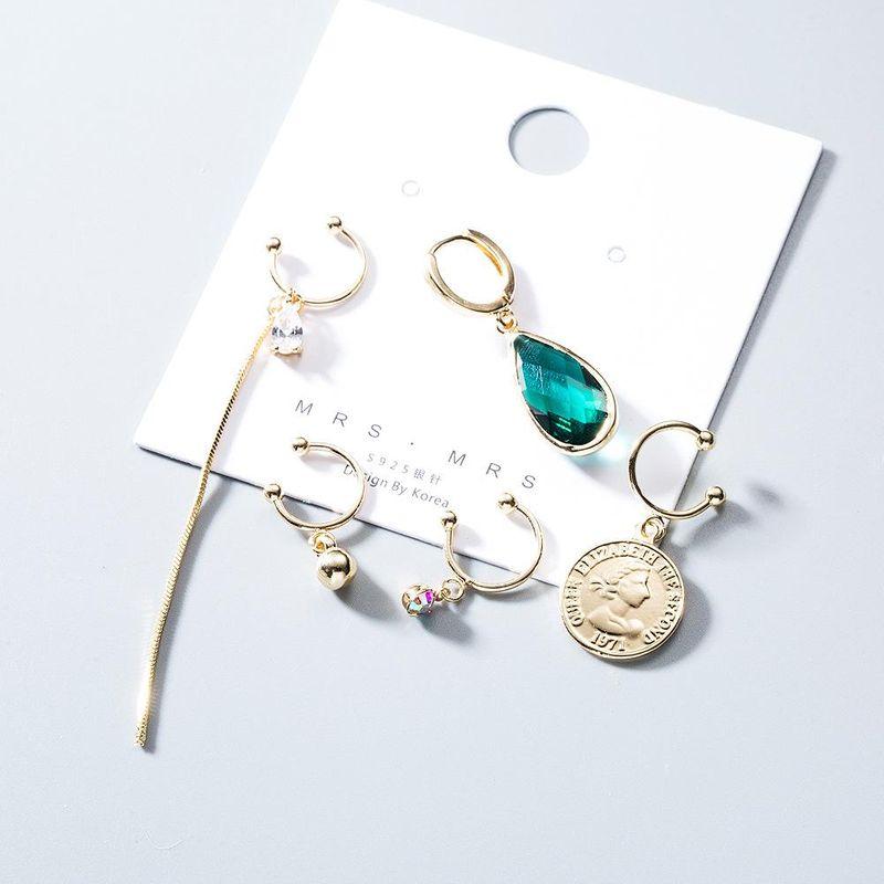 Zircon Retro Simple Creative Drop Shape Earrings Gold Coin Tassel Earrings NHYT199913