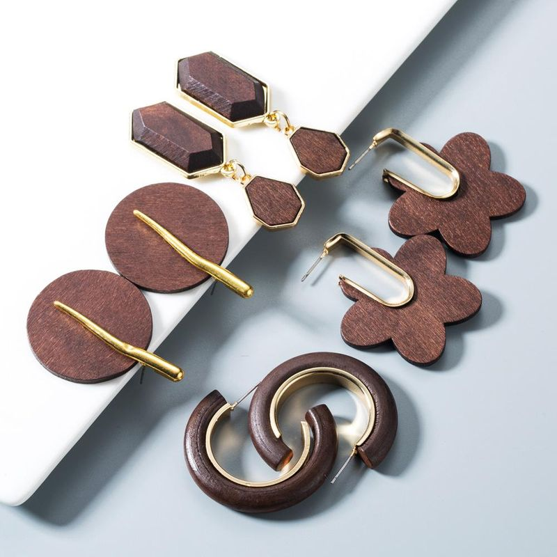 Korean simple wood earrings fashion solid color earrings simple earrings NHYT199914