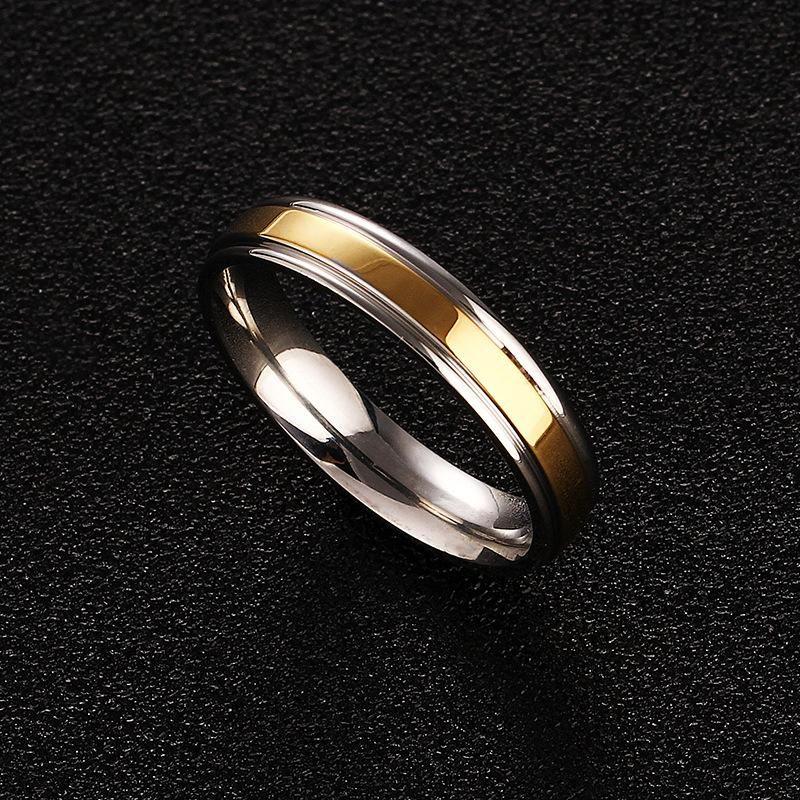 316L Simple Titanium Steel 4mm Gold Ring Wholesale NHIM199929