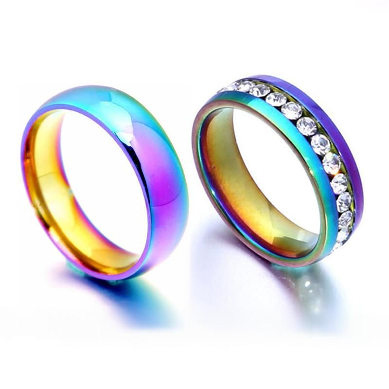316L simple titanium steel glossy simple couple ring 6mm ring spot jewelry NHIM199931