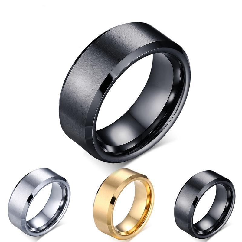 8mm Double Beveled Titanium Steel Ring Men's Ring Anti-Scratch Tungsten Steel 8mm Ring NHIM199934