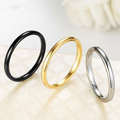 Korean glossy ring female index finger ring titanium steel plated 18K rose gold jewelry NHIM199936's discount tags