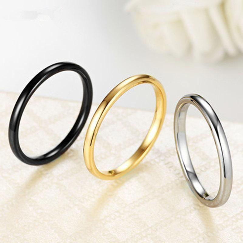 Korean glossy ring female index finger ring titanium steel plated 18K rose gold jewelry NHIM199936