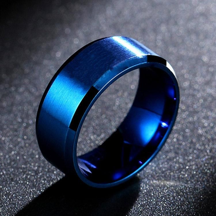 8mm Double Beveled Titanium Steel Ring Men's Ring Anti-Scratch Tungsten Steel 8mm Ring NHIM199937