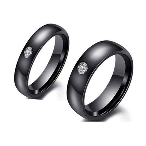 Anillo de diamante negro de acero inoxidable 4 mm 6 mm anillo hombres y mujeres NHIM199938's discount tags