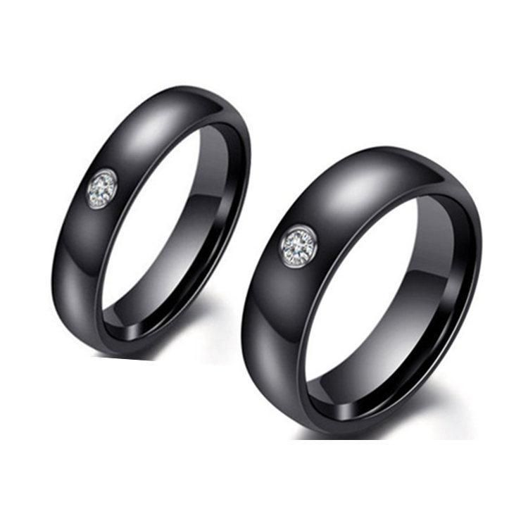 Stainless steel black diamond ring 4mm 6mm ring men and women NHIM199938