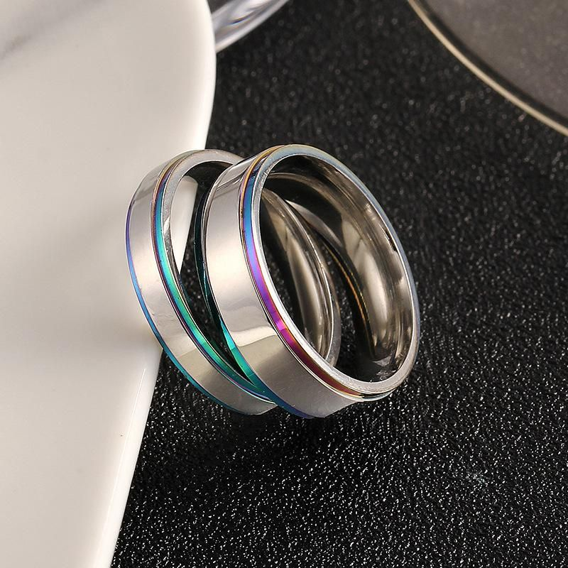 Explosion style simple couple colorful edge ring titanium steel ring wedding ring NHIM199940