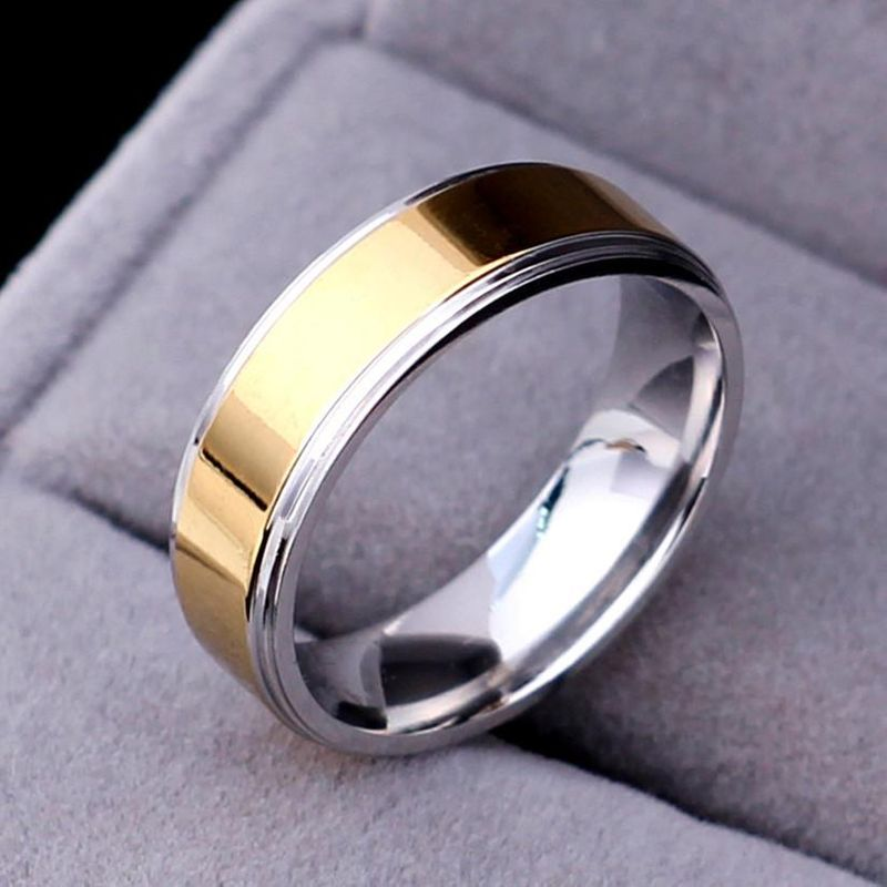 Nihaojewelry Simple Titanium Steel 6mm Gold Ring Wholesale NHIM199941