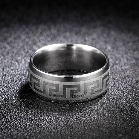 Simple Titanium Steel Great Wall Pattern Ring Embossed 8mm Ring NHIM199942's discount tags