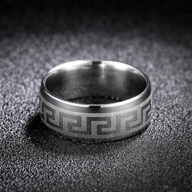 Simple Titanium Steel Great Wall Pattern Ring Embossed 8mm Ring NHIM199942
