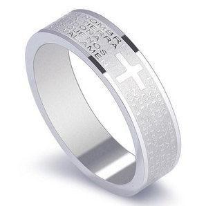 6mm Bible Cross Verse Stainless Steel Ring NHIM199944