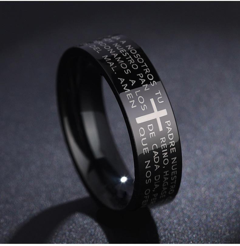 6mm Bible Cross Verse Stainless Steel Ring wholesales fashion NHIM199945