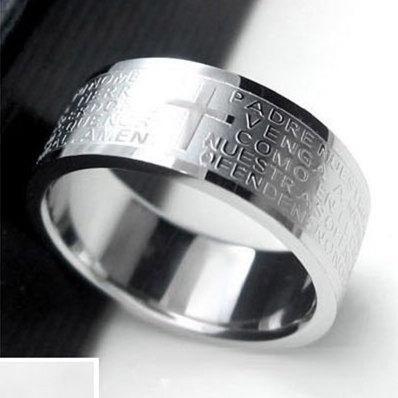 Nihaojewelry 8mm Bible Cross Verse Stainless Steel Ring NHIM199947