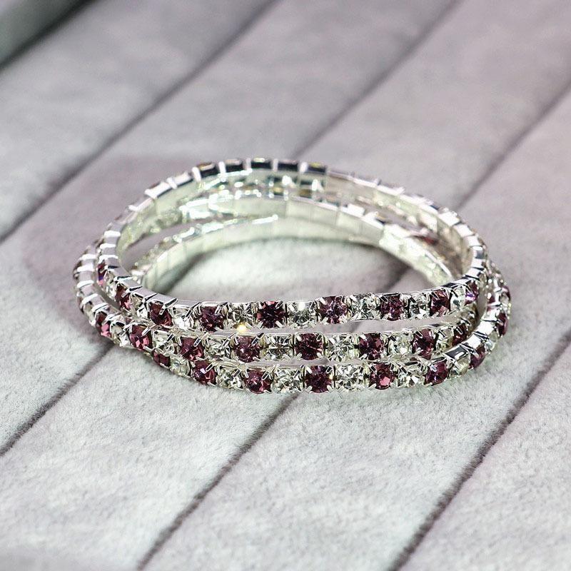 Fashion Single Row Purple and White Full Diamond Stretch Bracelet NHIM199948