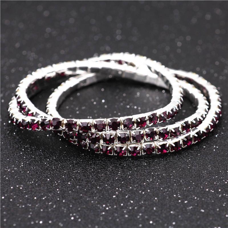 3.6mm Deep Purple Single Drainage Diamond Bracelet Elastic Bride Bracelet Single Row Flash Diamond Elastic Crystal Bracelet NHIM199951