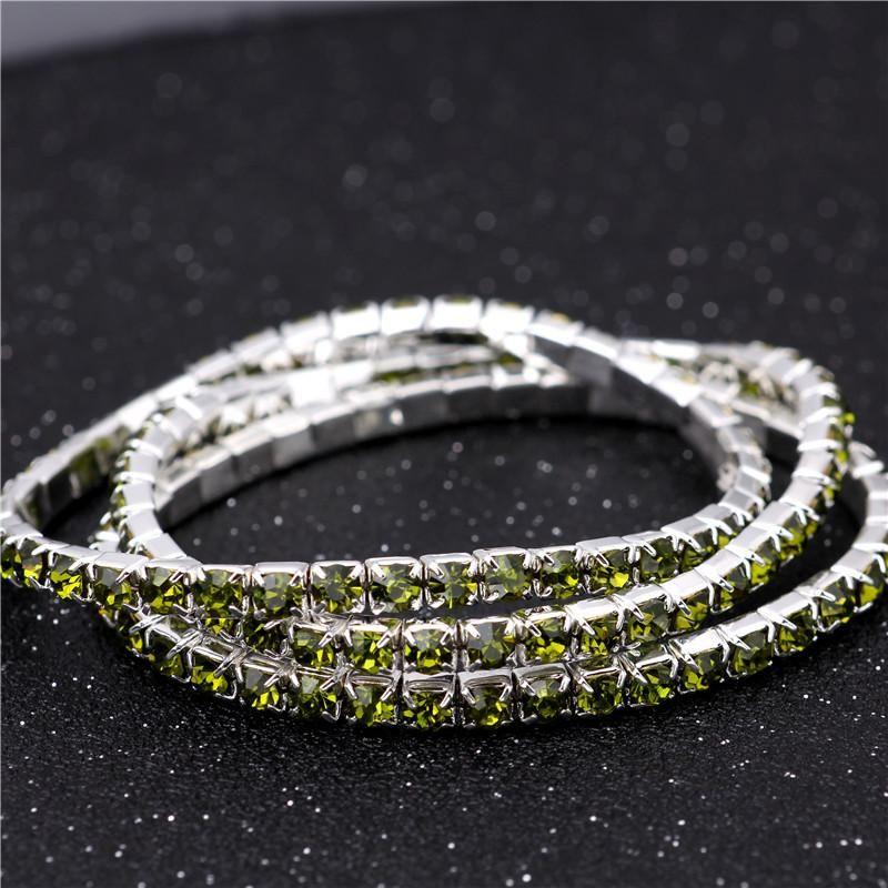3.6mm olive green single drainage diamond bracelet elastic bride bracelet flash diamond elastic crystal bracelet NHIM199956