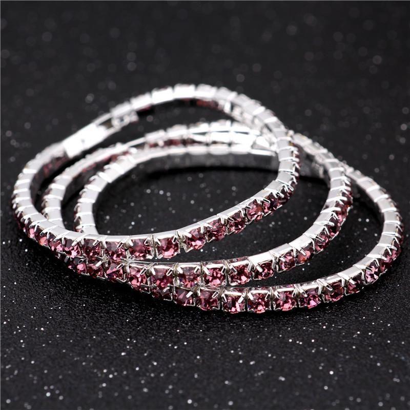 3.6mm Light Purple Single Drain Diamond Bracelet Elastic Bride Bracelet Korean Single Row Flash Diamond Elastic Crystal Bracelet NHIM199957
