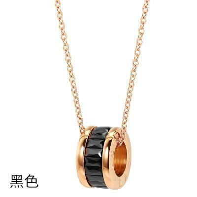 Fashion Roman clavicle chain rose gold zircon pendant necklace women NHIM199961