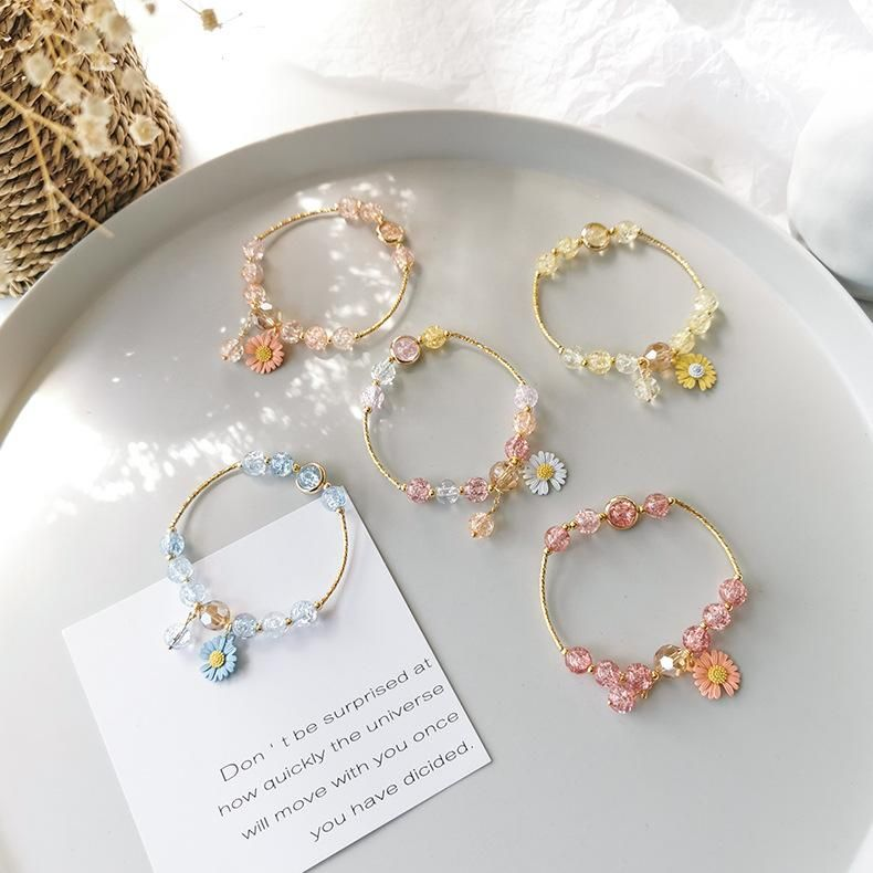 Sweet Daisy Single Hoop Bracelet Korean Beaded Small Flower Bracelet Wholesale NHMS205756