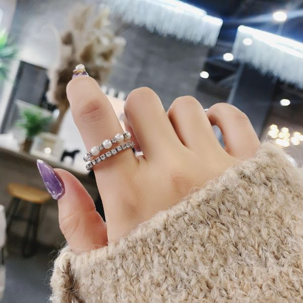 New sweet and elegant pearl rhinestone double ring wholesale NHMS205758