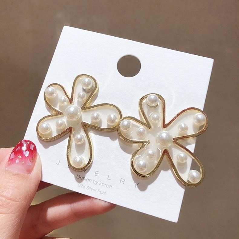 Korean new pearl big flower earrings exaggerated popular earrings women wholesale NHMS205759