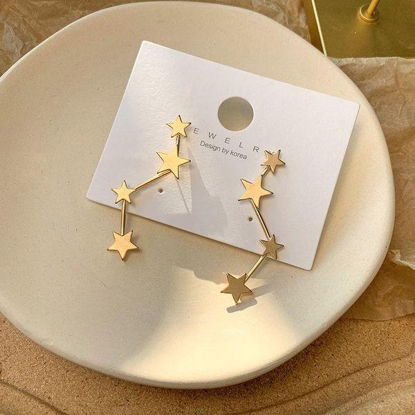 925 silver needle simple geometric size star earrings art cold style metal earrings jewelry women NHMS205760