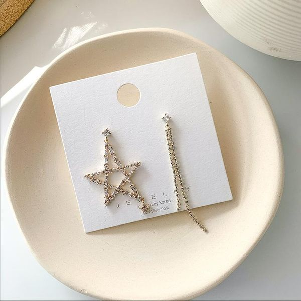 925 Silver Needle Korean Exaggerated Star Tassel Asymmetric Earrings Flash Diamond Ear Jewelry Wholesale NHMS205761