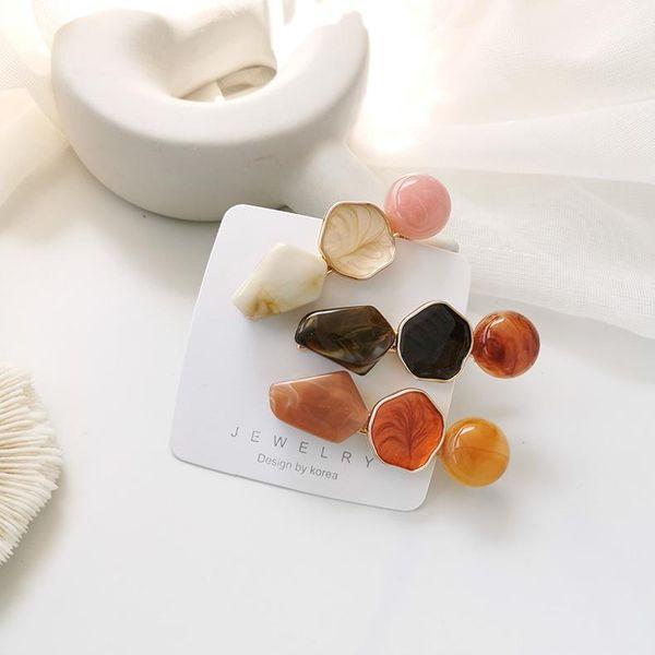 New geometric round polygon hair clip imitation marble alloy cheap hair accessories wholesale NHMS205764