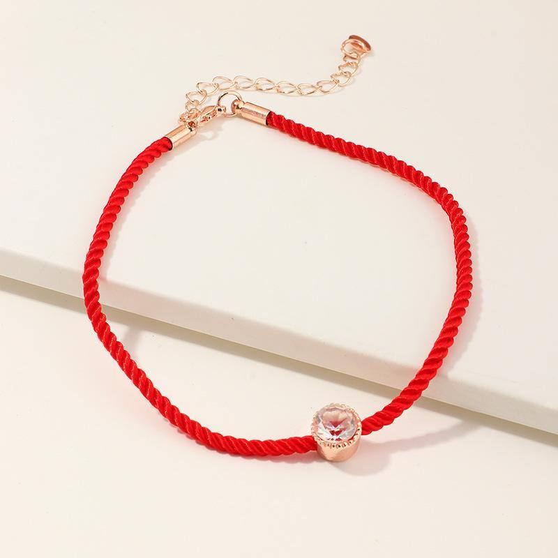 Red rope bracelet anklet fashion single diamond bracelet wholesale NHNZ205765
