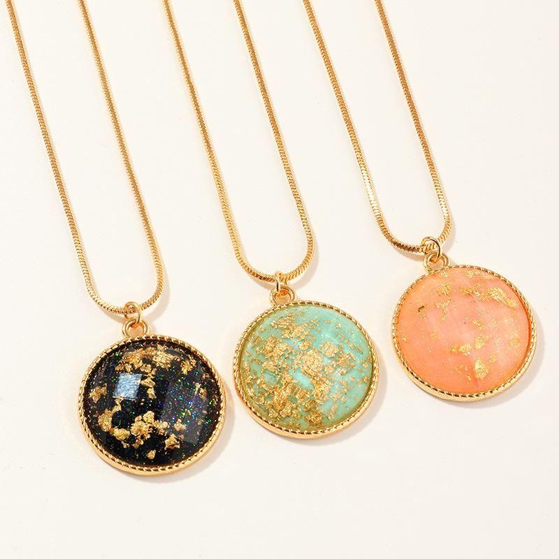New fashion gold leaf pendant retro color hemisphere necklace wholesale NHNZ205767