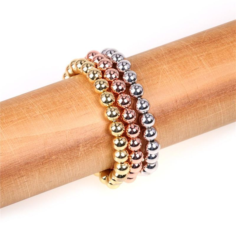 New Popular Beaded Stretch Bracelets Color Preservation Plating 8MM Copper Bead Bracelet Wholesale NHPY205770